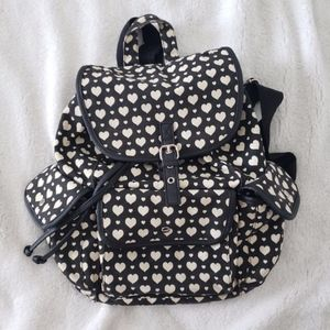 Black and White Heart Small Fashion Backpack
